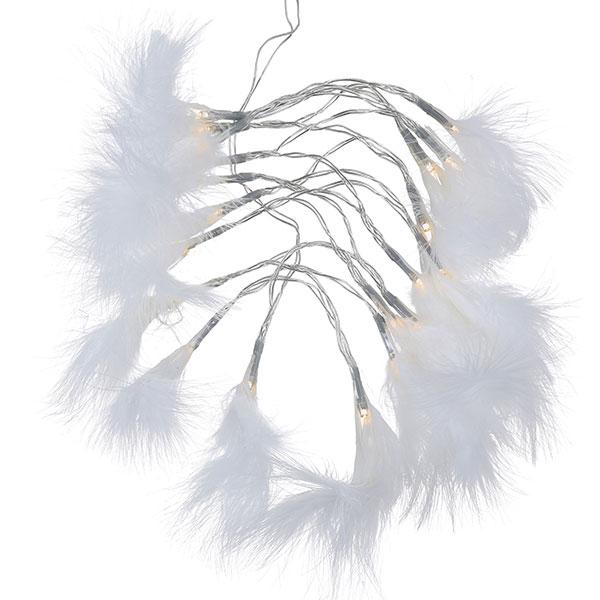 260083 Lichterkette Feder 190cm weiß mit LED