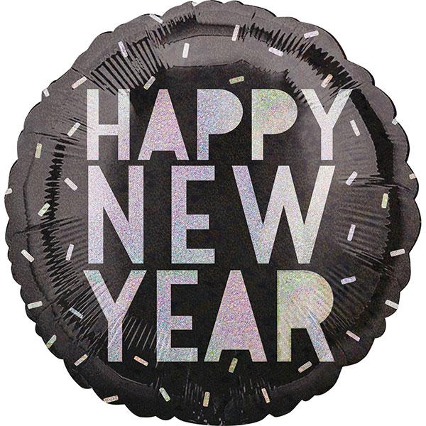 330011 Folienballon Happy New Year Holographic (45cm) rund mit Helium gefüllt