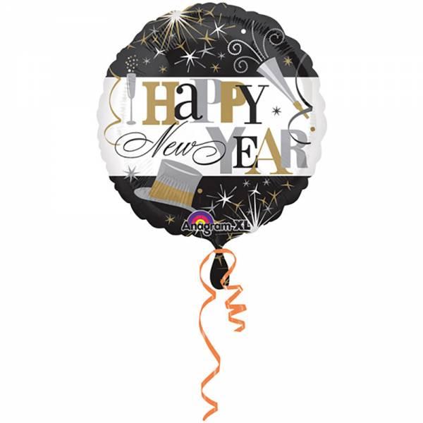 330014 Folienballon Happy New Year rund (45cm) mit Helium gefüllt