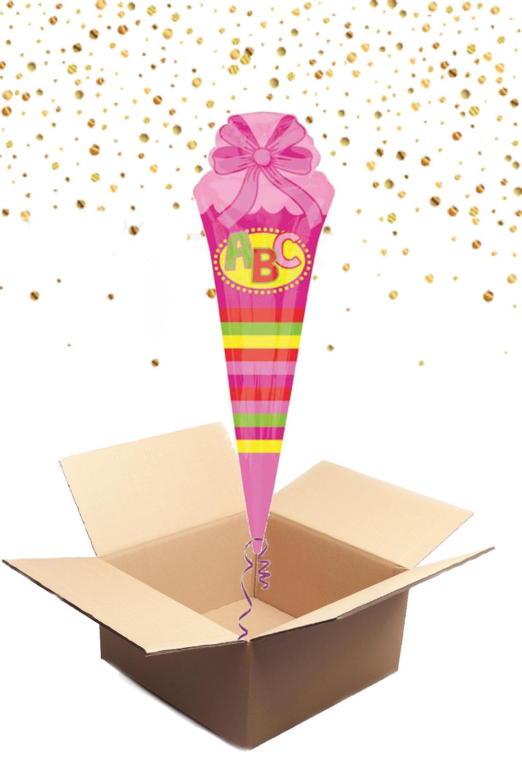 330021 Helium Folienballon Riesen Schultüte rosa gefüllt