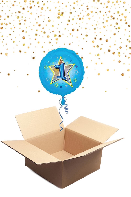 """330222 Folienballon mit Helium gefüllt rund blau """"1"""" ca. 43cm"""