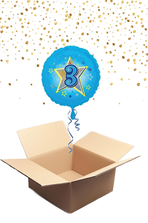 """330224 Folienballon mit Helium gefüllt rund blau """"3"""" ca. 43cm"""
