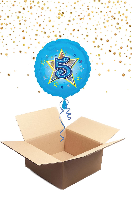 """330226 Folienballon mit Helium gefüllt rund blau """"5"""" ca. 43cm"""