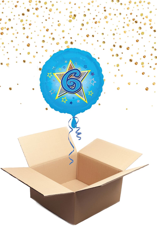 """330227 Folienballon mit Helium gefüllt rund blau """"6"""" ca. 43cm"""