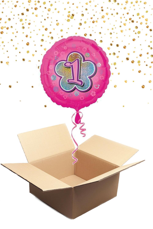 """330228 Folienballon mit Helium gefüllt rund rosa """"1"""" ca. 43cm"""