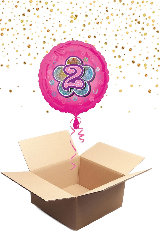 """330229 Folienballon mit Helium gefüllt rund rosa """"2"""" ca. 43cm"""