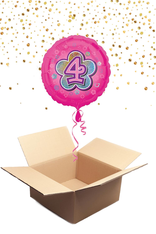 """330231 Folienballon mit Helium gefüllt rund rosa """"4"""" ca. 43cm"""