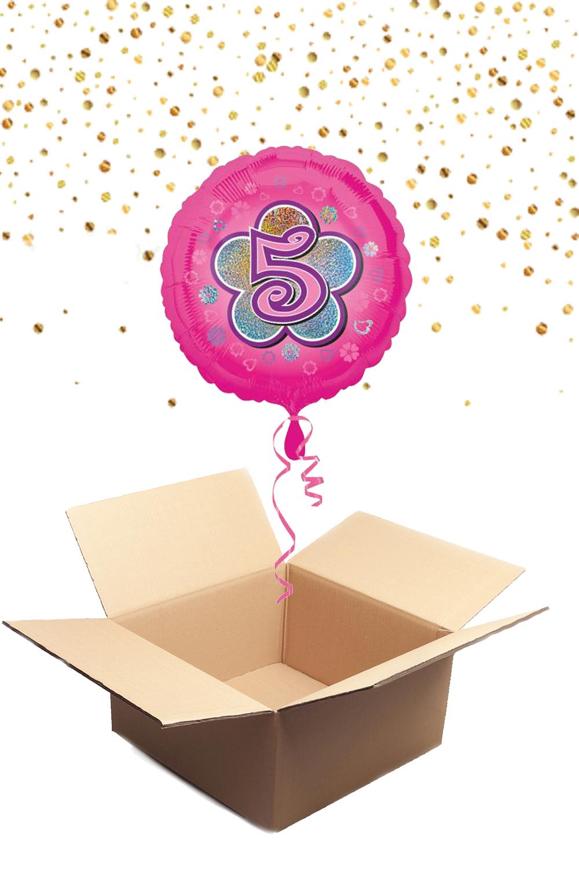 """330232 Folienballon mit Helium gefüllt rund rosa """"5"""" ca. 43cm"""