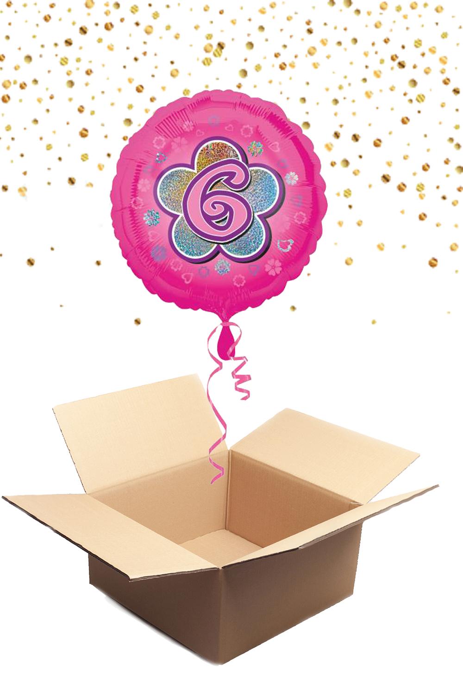 """330233 Folienballon mit Helium gefüllt rund rosa """"6"""" ca. 43cm"""