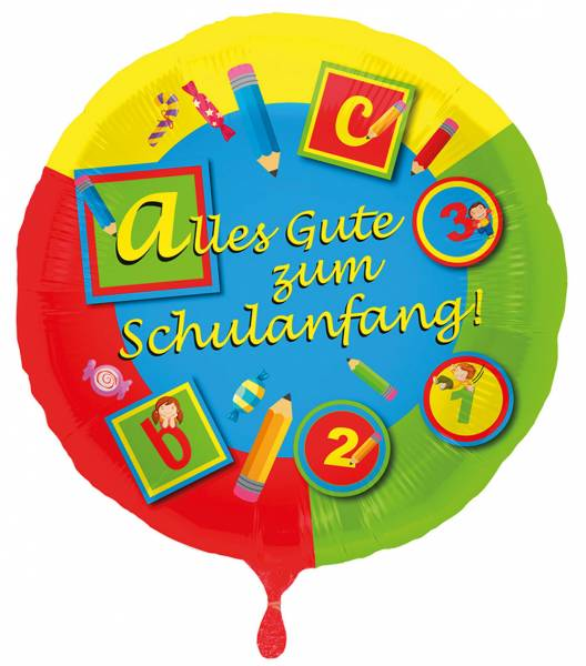330239 Helium Folienballon Schulanfang gefüllt